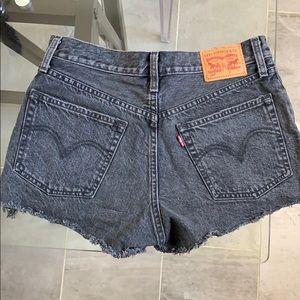 Faded Black Levi Denim High-waisted Shorts